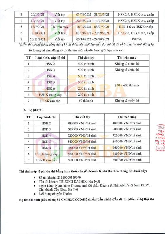 Lịch Thi HSK và HSKK 2021 tại Viện Khổng Tử Đại học Hà Nội